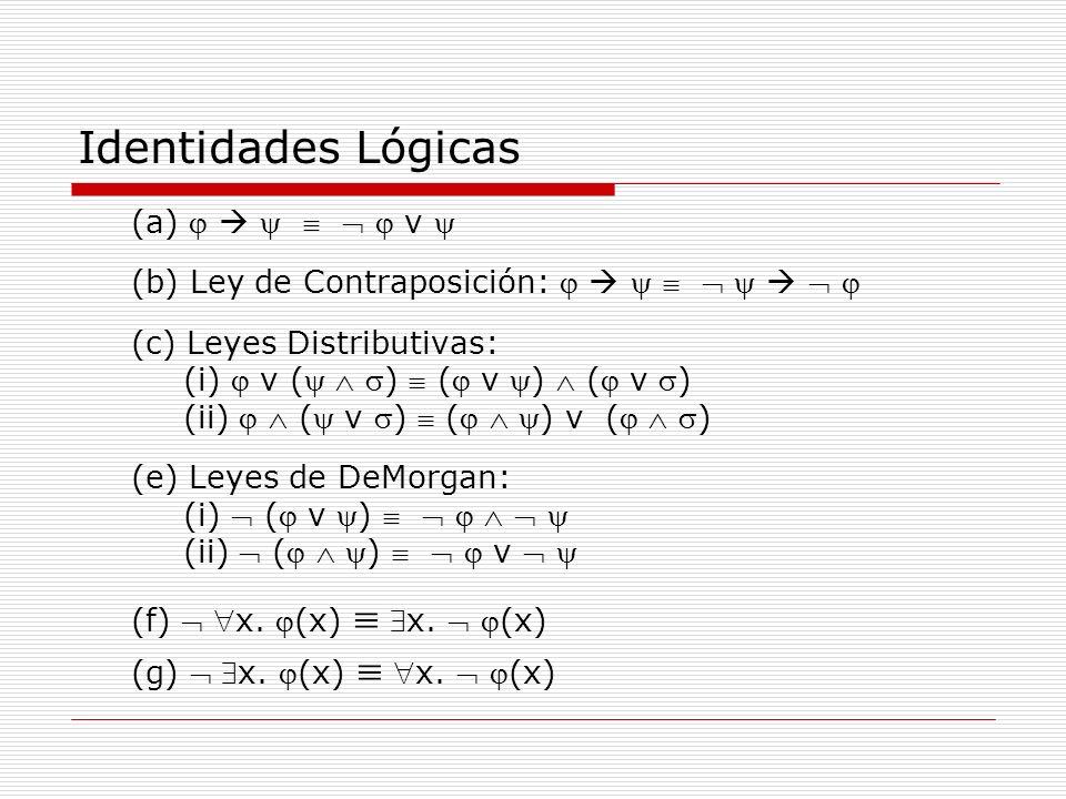 Identidades Lógicas (f)  x. (x)  x.  (x) (a)       v 