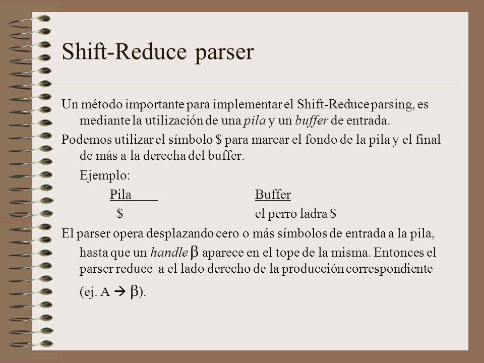 Shift-Reduce parser Un método importante para implementar el Shift-Reduce parsing, es mediante la utilización de una pila y un buffer de entrada.