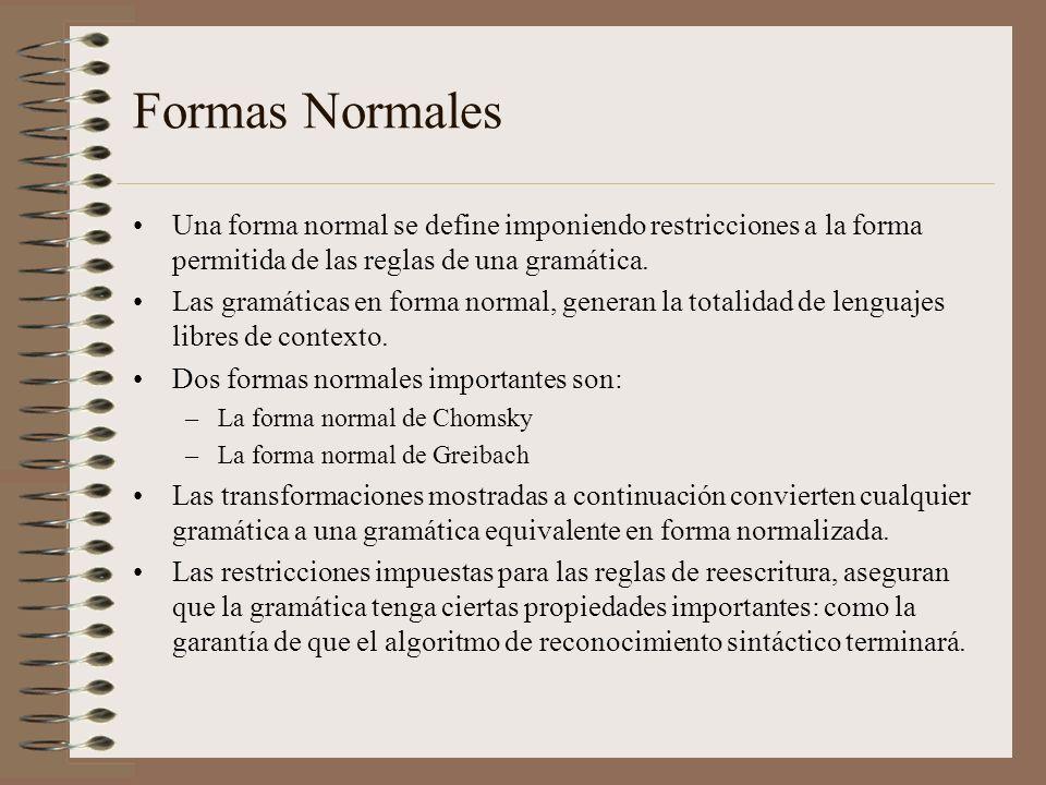 Formas NormalesUna forma normal se define imponiendo restricciones a la forma permitida de las reglas de una gramática.