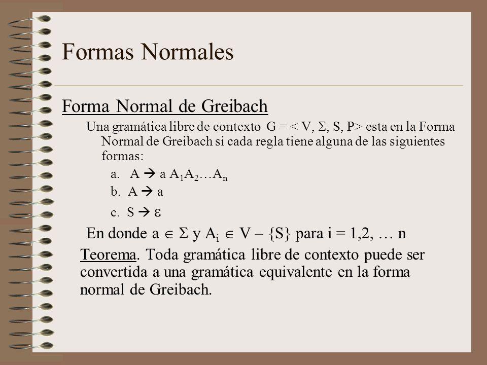 Formas Normales Forma Normal de Greibach