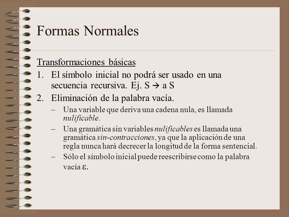Formas Normales Transformaciones básicas