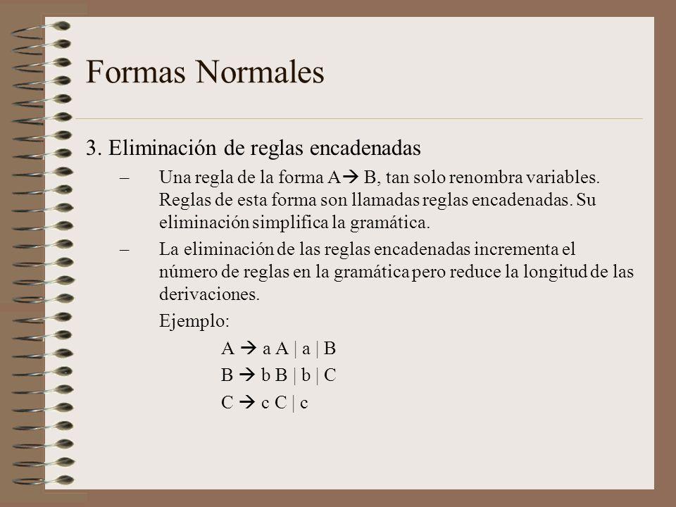 Formas Normales 3. Eliminación de reglas encadenadas