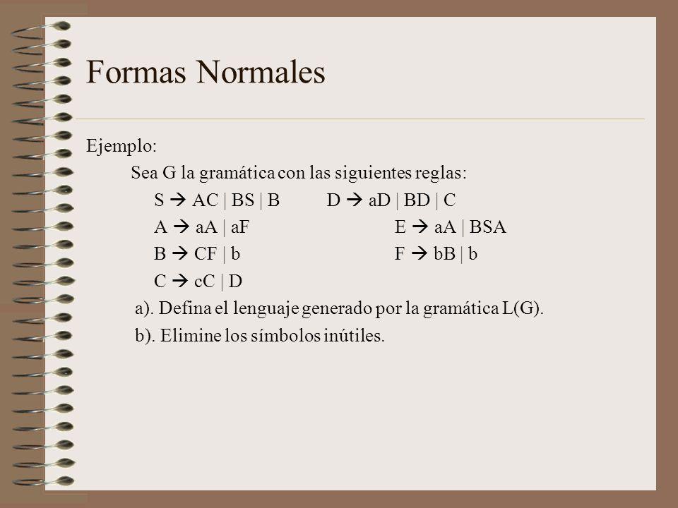 Formas Normales Ejemplo: Sea G la gramática con las siguientes reglas: