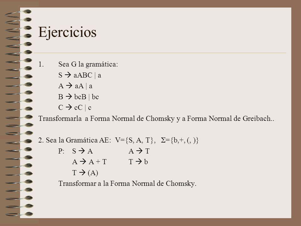 Ejercicios Sea G la gramática: S  aABC | a A  aA | a B  bcB | bc