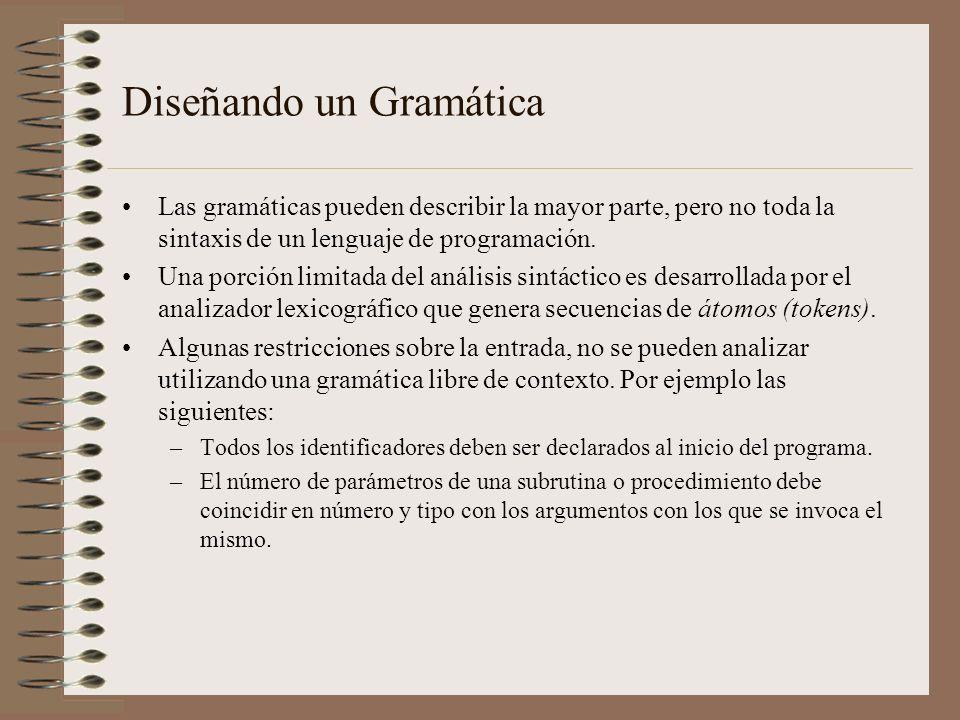Diseñando un Gramática