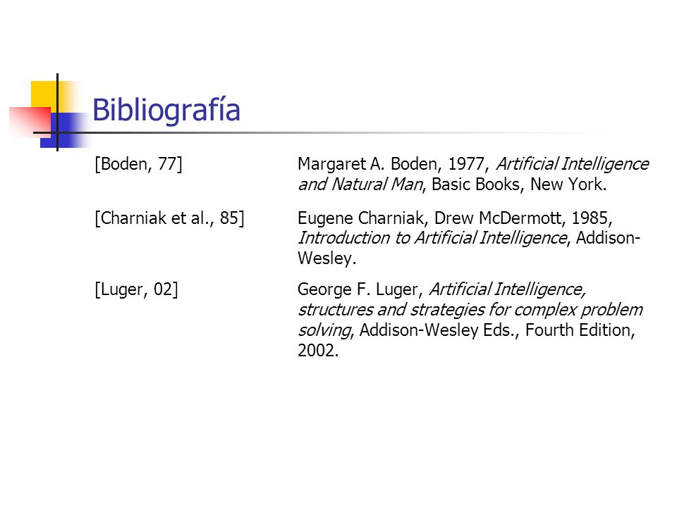 Bibliografía [Boden, 77] Margaret A. Boden, 1977, Artificial Intelligence and Natural Man, Basic Books, New York.