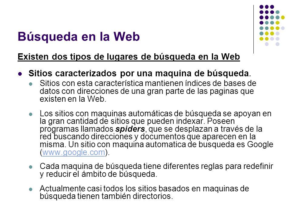 Búsqueda en la Web Existen dos tipos de lugares de búsqueda en la Web