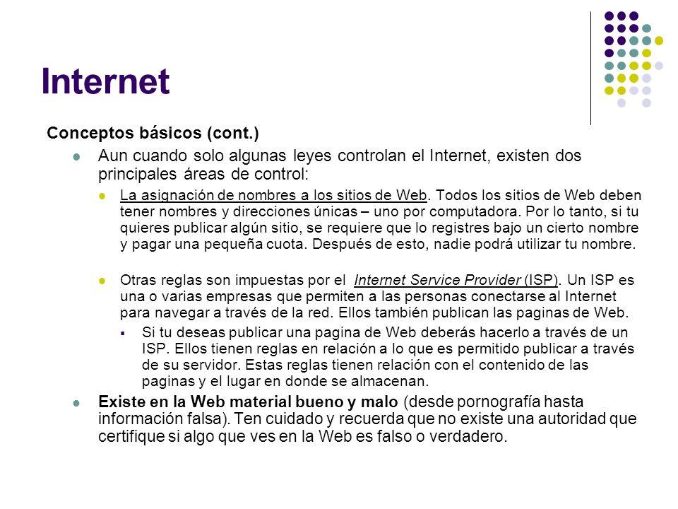 Internet Conceptos básicos (cont.)