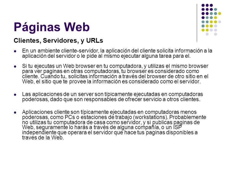 Páginas Web Clientes, Servidores, y URLs