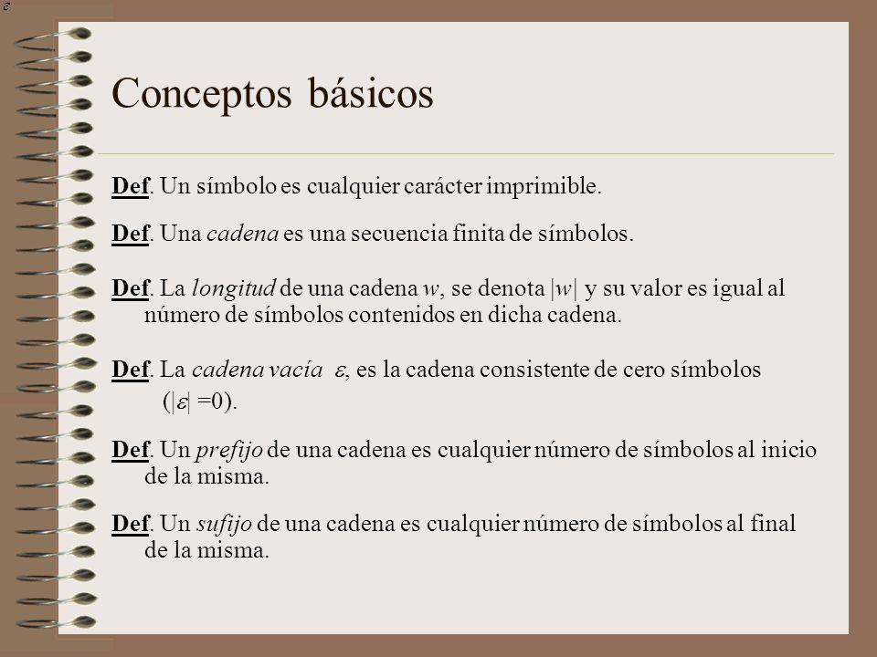 Conceptos básicos Def. Un símbolo es cualquier carácter imprimible.
