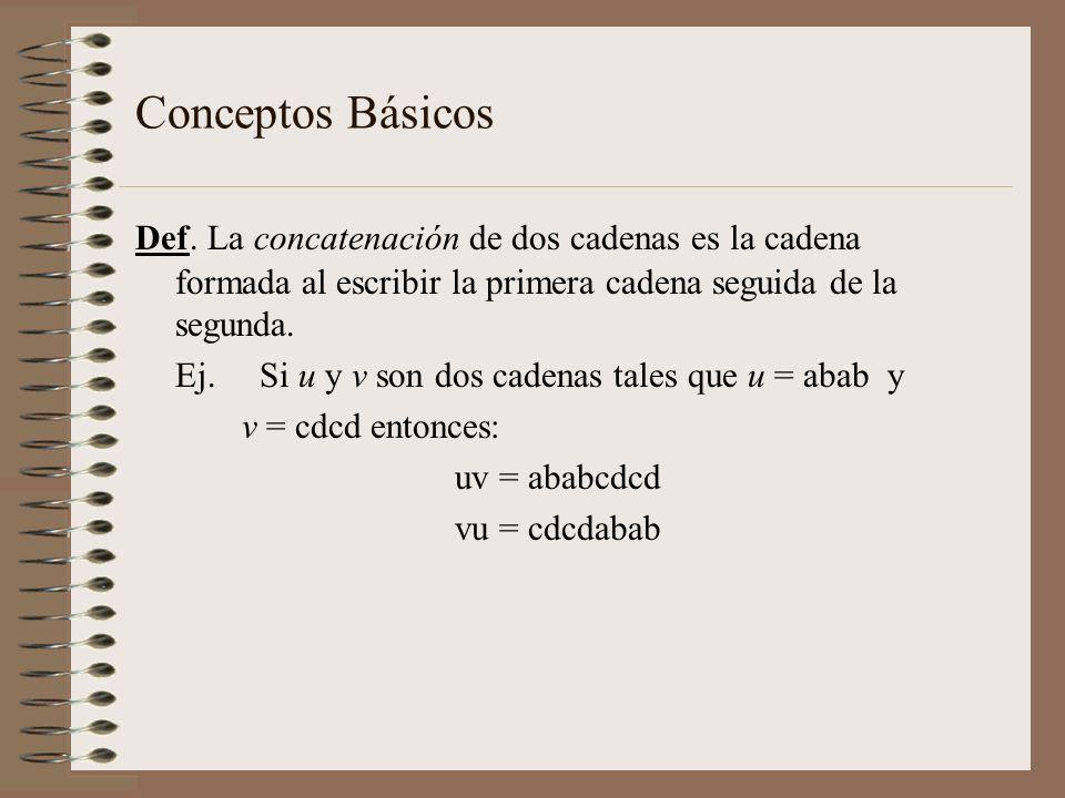 Conceptos Básicos Def. La concatenación de dos cadenas es la cadena formada al escribir la primera cadena seguida de la segunda.