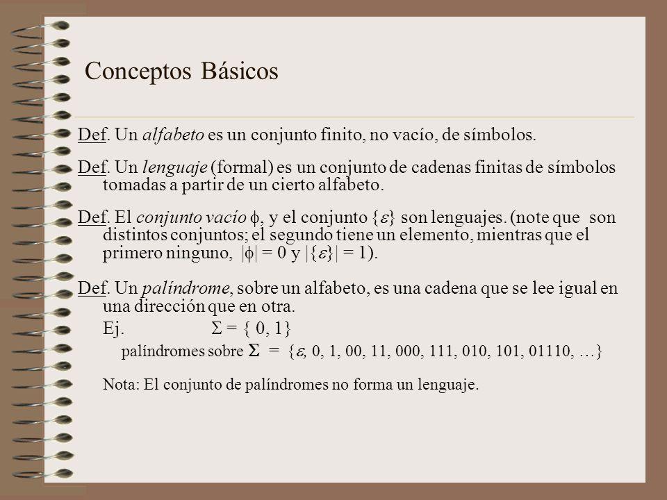 Conceptos Básicos Def. Un alfabeto es un conjunto finito, no vacío, de símbolos.