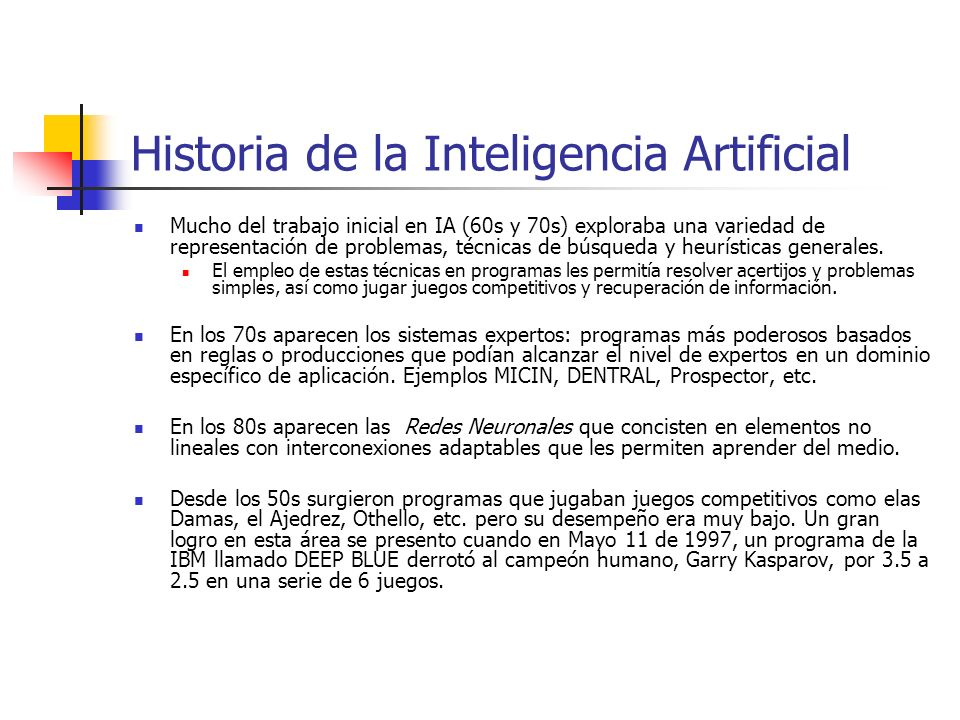 Historia de la Inteligencia Artificial