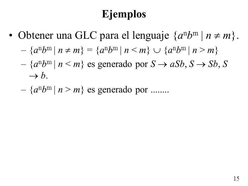 Obtener una GLC para el lenguaje {anbm | n  m}.