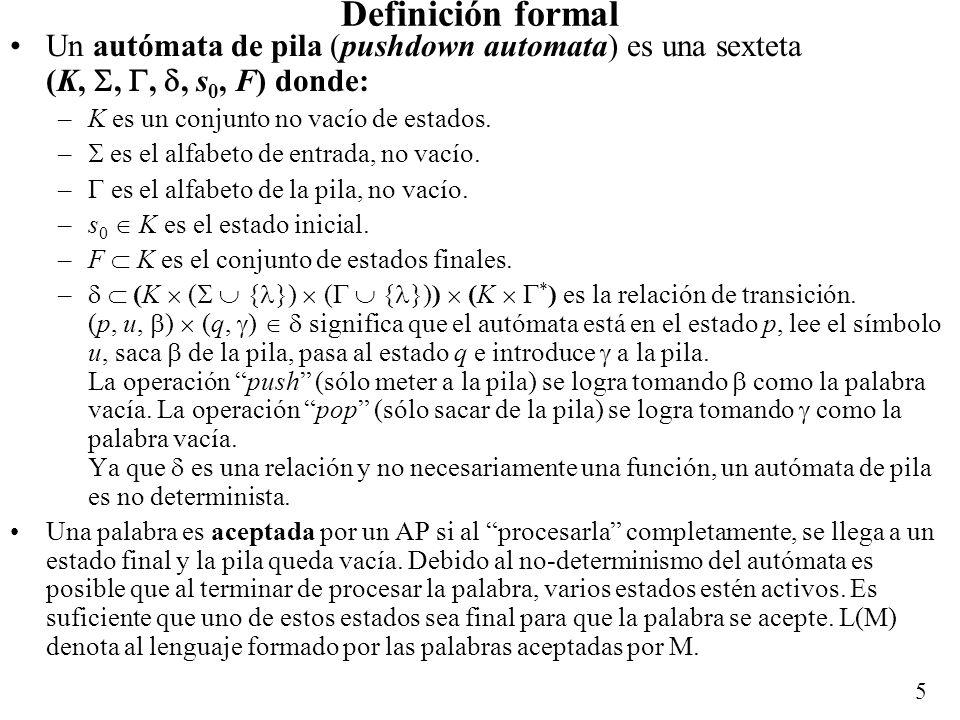 Definición formal Un autómata de pila (pushdown automata) es una sexteta (K, , , , s0, F) donde: