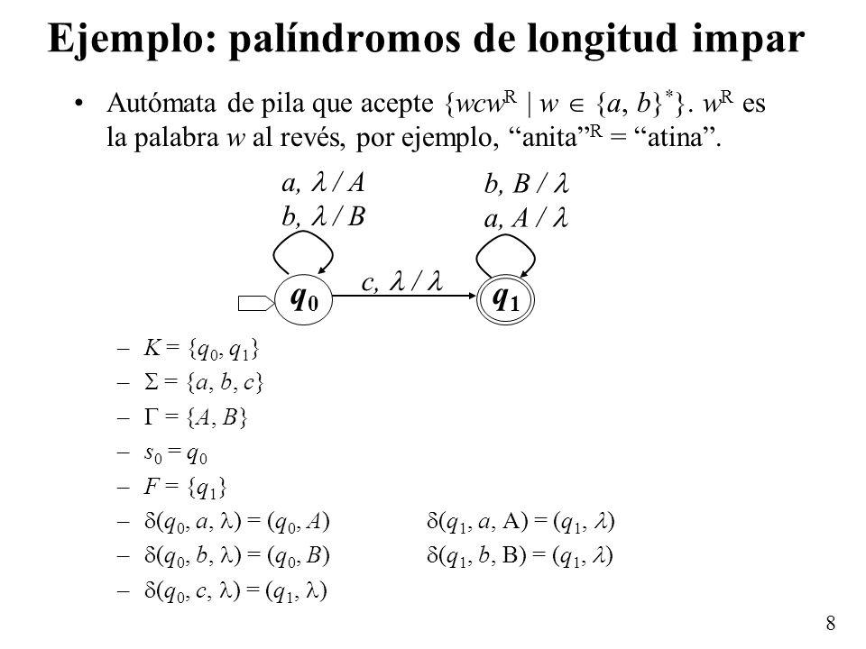 Ejemplo: palíndromos de longitud impar