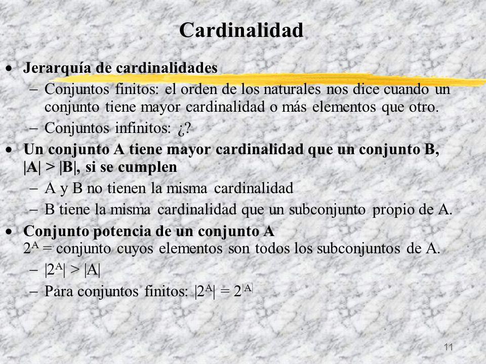 Cardinalidad Jerarquía de cardinalidades