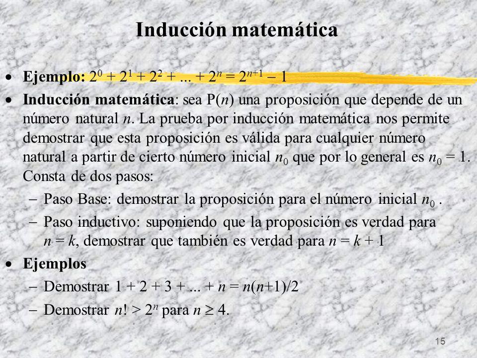 Inducción matemática Ejemplo: 20 + 21 + 22 + ... + 2n = 2n+1  1