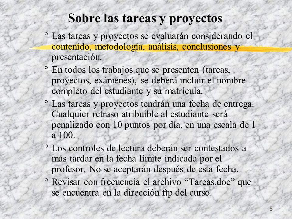 Sobre las tareas y proyectos