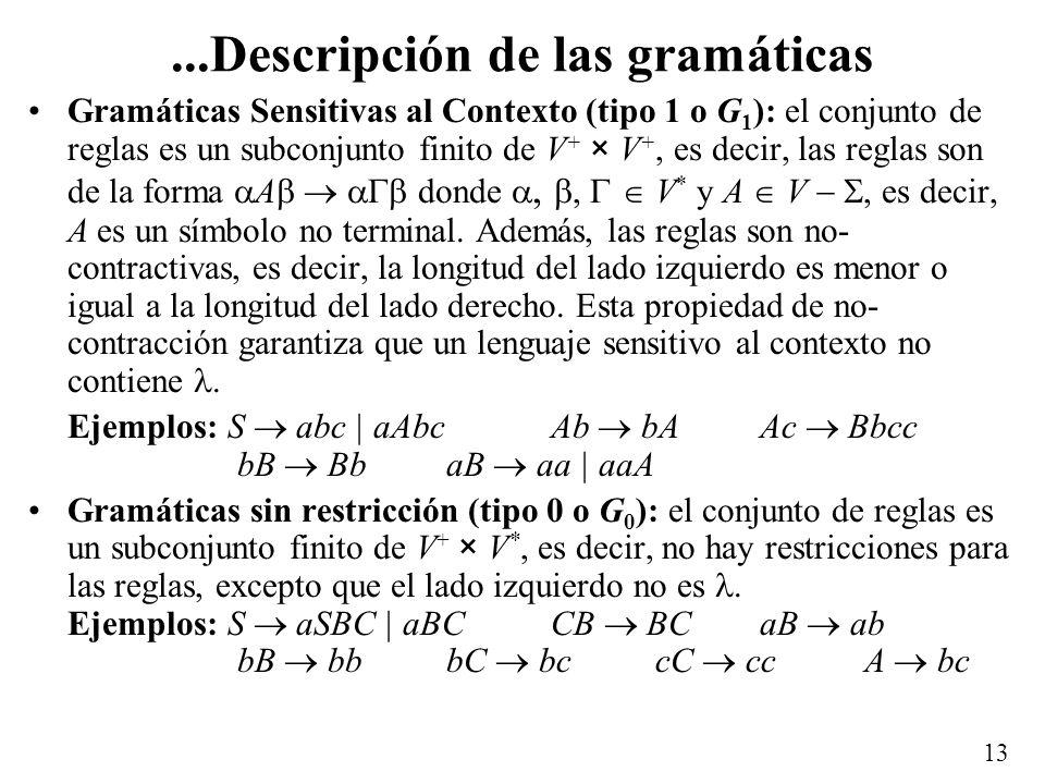 ...Descripción de las gramáticas