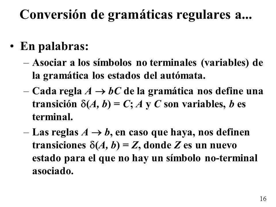 Conversión de gramáticas regulares a...