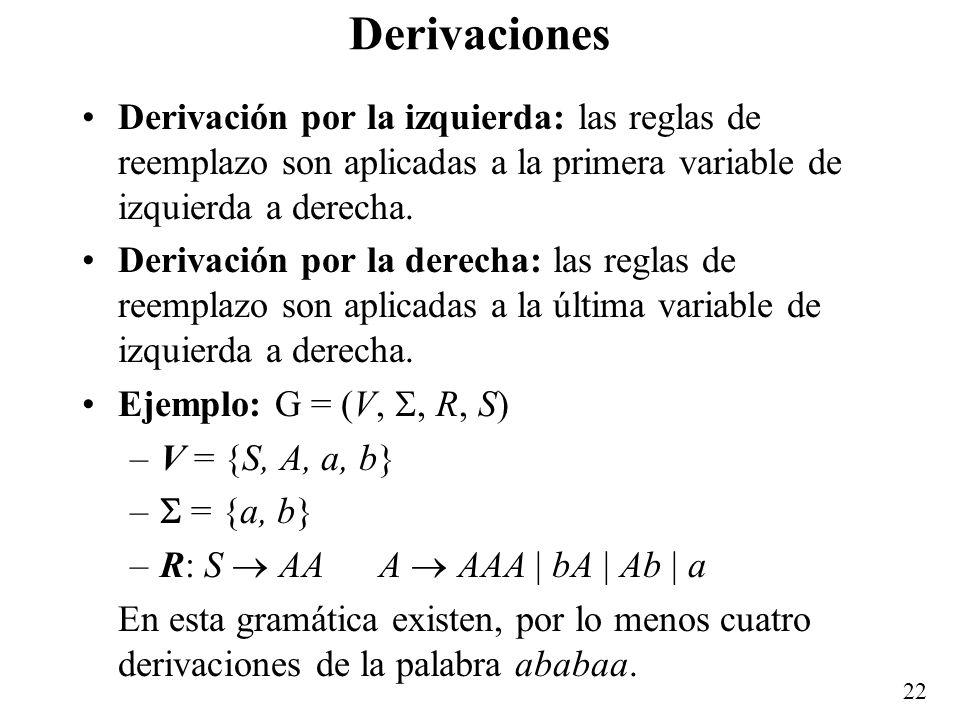 Derivaciones Derivación por la izquierda: las reglas de reemplazo son aplicadas a la primera variable de izquierda a derecha.