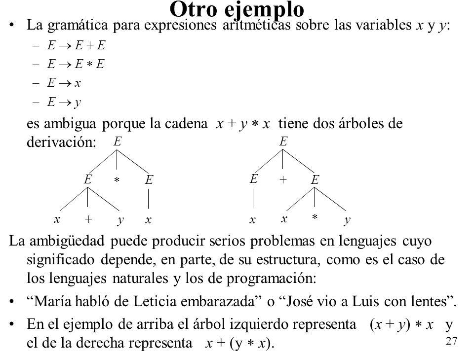 Otro ejemplo La gramática para expresiones aritméticas sobre las variables x y y: E  E + E. E  E  E.