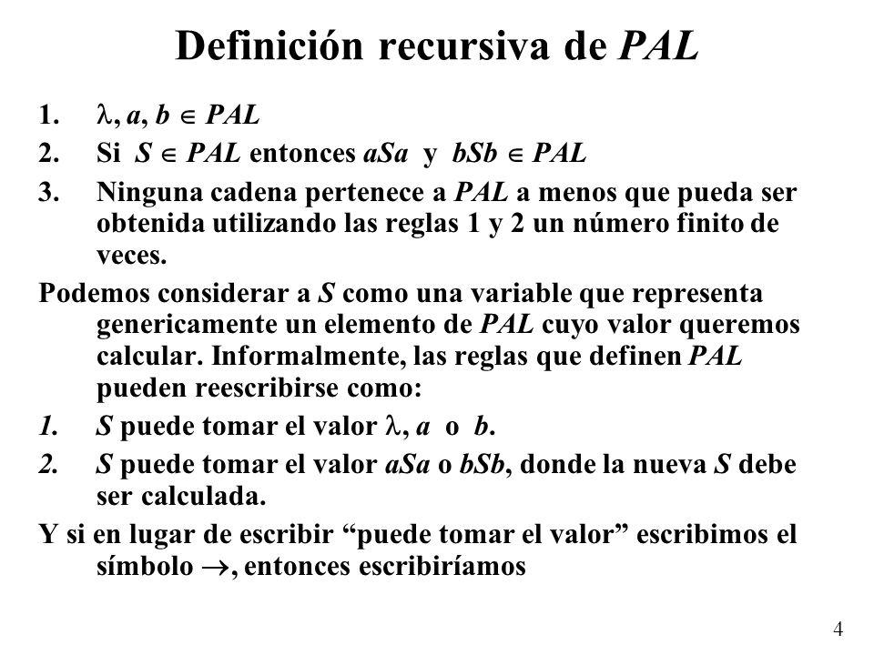 Definición recursiva de PAL