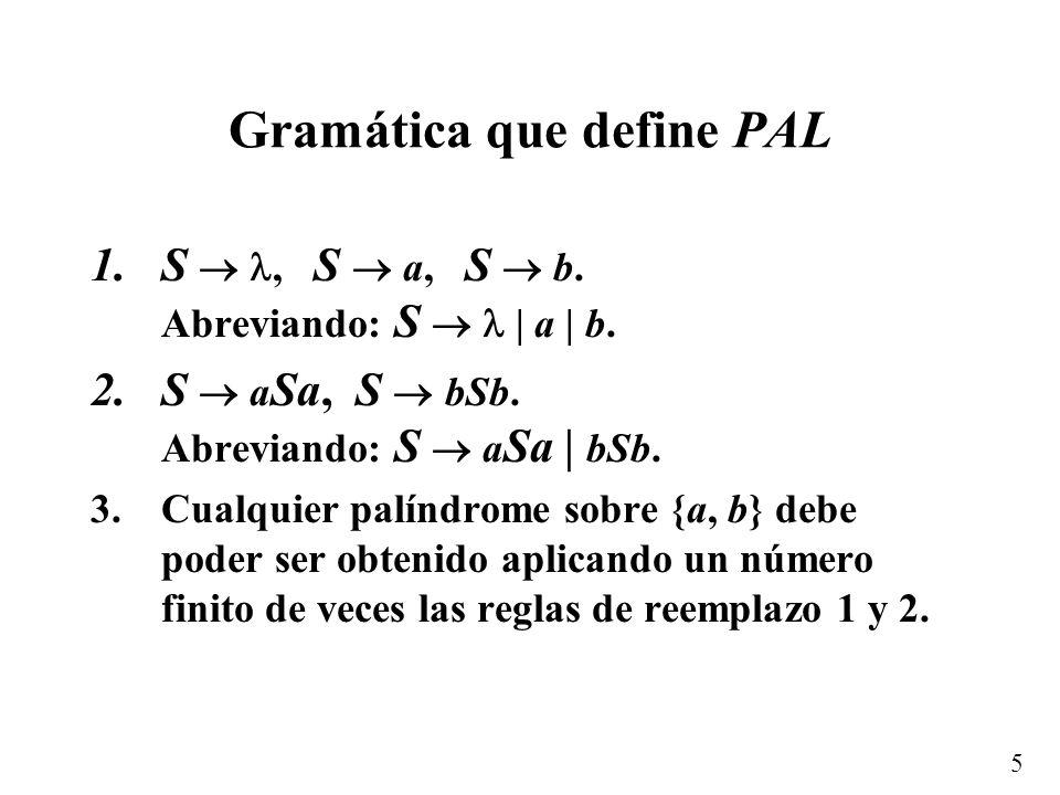 Gramática que define PAL