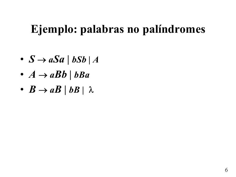 Ejemplo: palabras no palíndromes