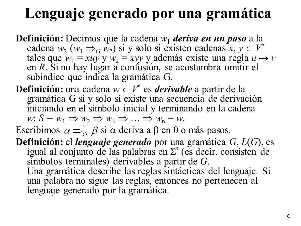 Lenguaje generado por una gramática