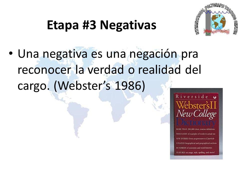 Etapa #3 Negativas Una negativa es una negación pra reconocer la verdad o realidad del cargo.