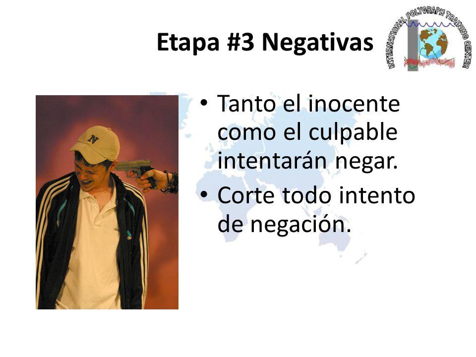 Etapa #3 Negativas Tanto el inocente como el culpable intentarán negar.