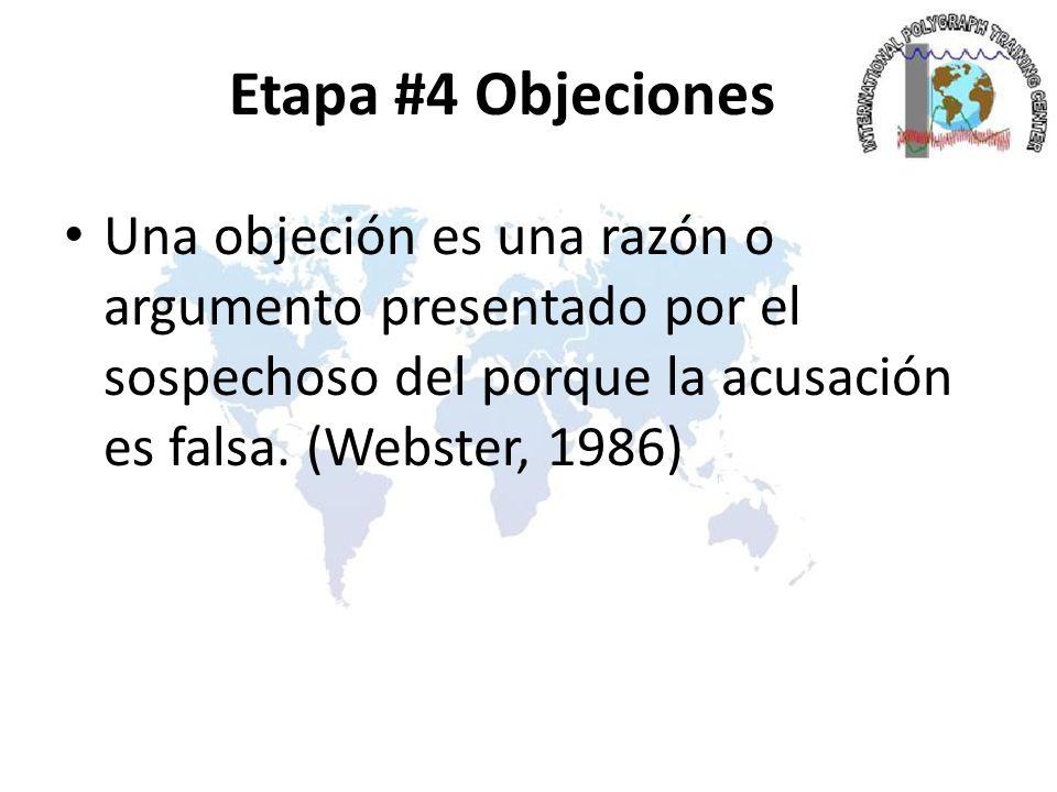 Etapa #4 Objeciones Una objeción es una razón o argumento presentado por el sospechoso del porque la acusación es falsa.