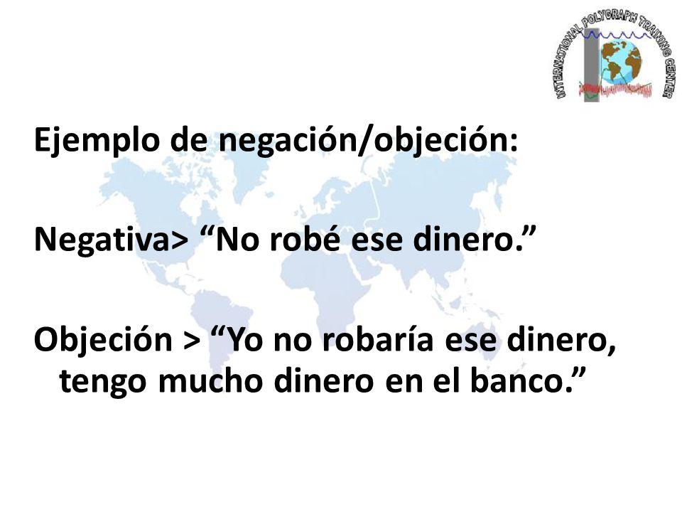 Ejemplo de negación/objeción: Negativa> No robé ese dinero