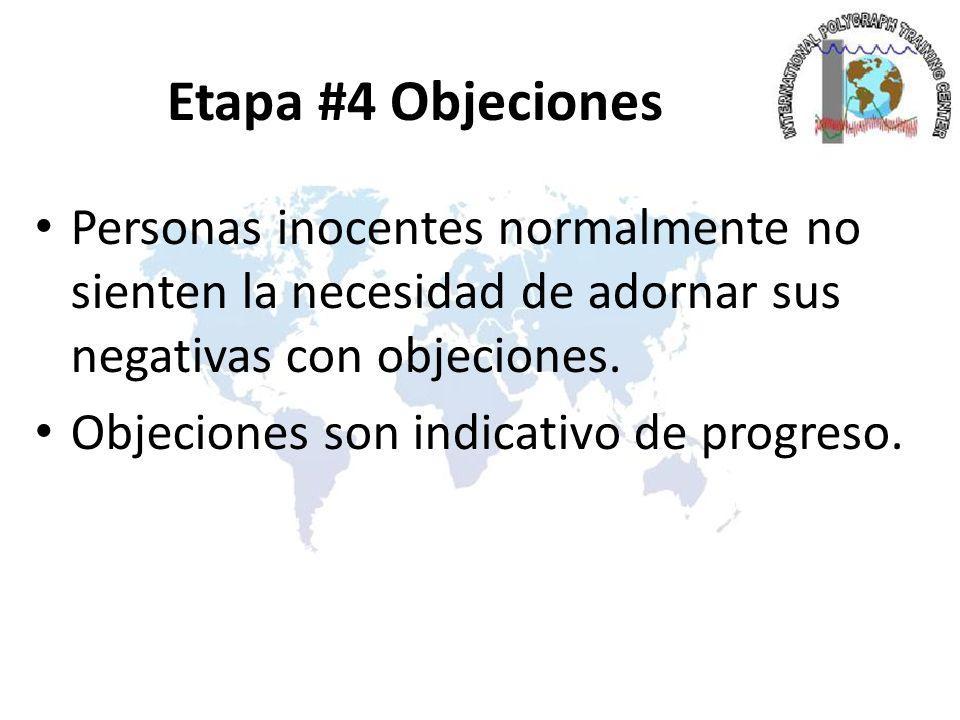 Etapa #4 Objeciones Personas inocentes normalmente no sienten la necesidad de adornar sus negativas con objeciones.