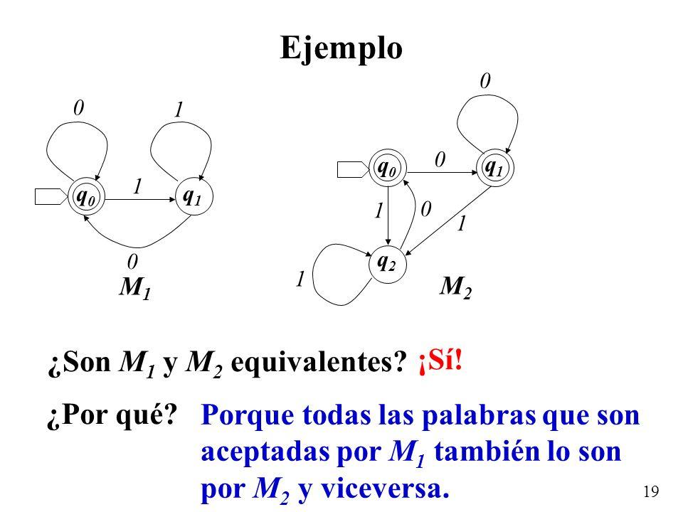 Ejemplo ¿Son M1 y M2 equivalentes ¡Sí! ¿Por qué
