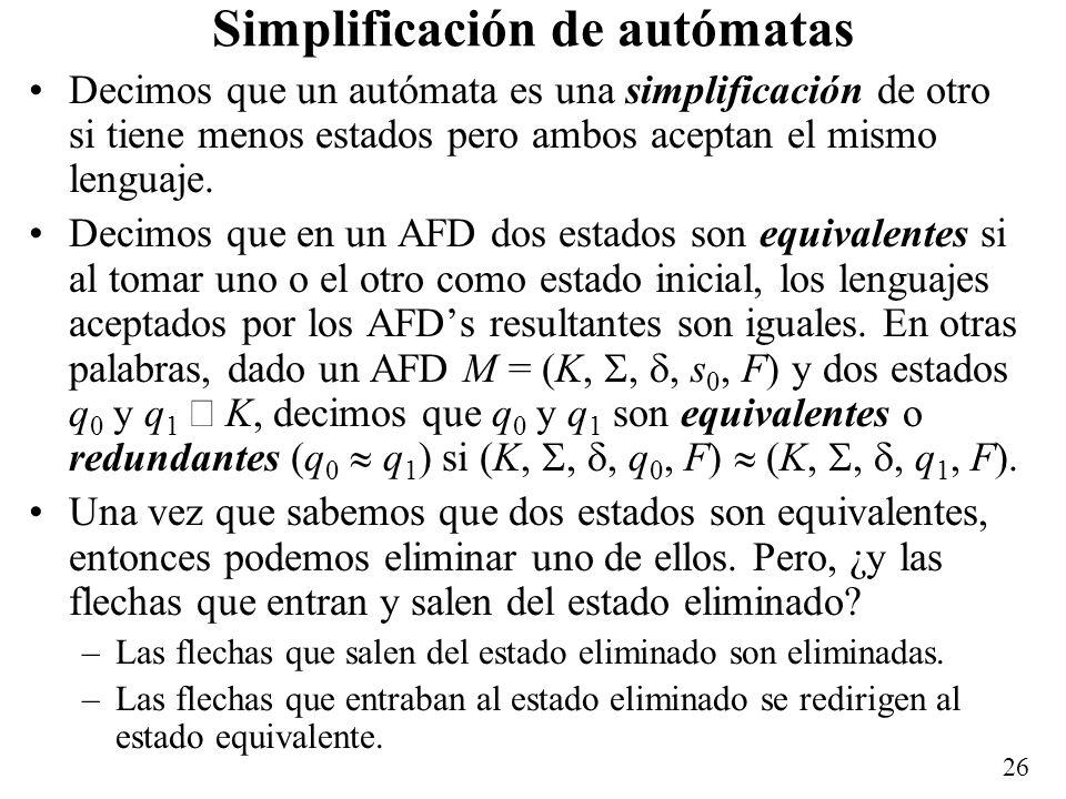 Simplificación de autómatas