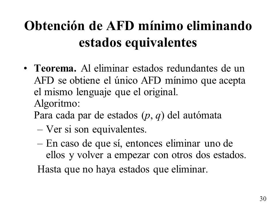 Obtención de AFD mínimo eliminando estados equivalentes