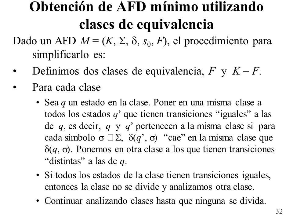 Obtención de AFD mínimo utilizando clases de equivalencia