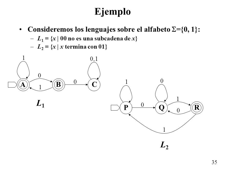 Ejemplo L1 L2 Consideremos los lenguajes sobre el alfabeto ={0, 1}: A