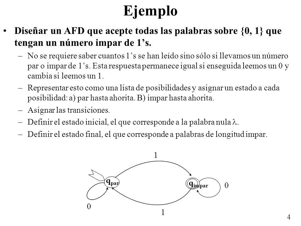 EjemploDiseñar un AFD que acepte todas las palabras sobre {0, 1} que tengan un número impar de 1's.
