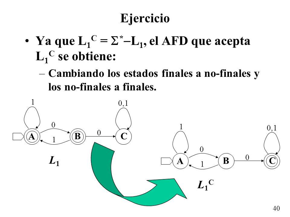 Ya que L1C = *L1, el AFD que acepta L1C se obtiene:
