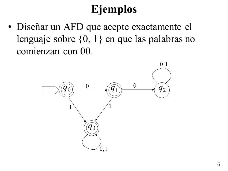 Ejemplos Diseñar un AFD que acepte exactamente el lenguaje sobre {0, 1} en que las palabras no comienzan con 00.
