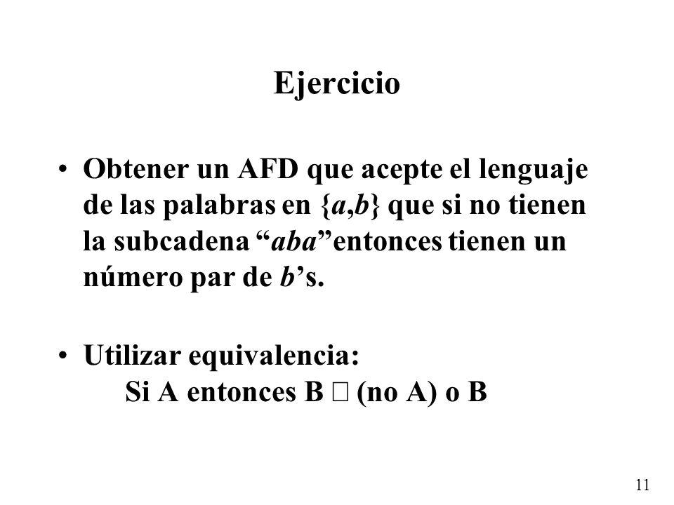 Ejercicio Obtener un AFD que acepte el lenguaje de las palabras en {a,b} que si no tienen la subcadena aba entonces tienen un número par de b's.