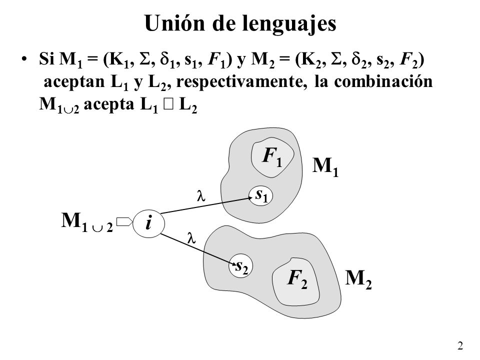 Unión de lenguajes F1 F2 i M1 M1  2 M2