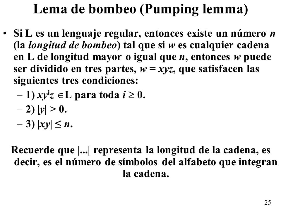 Lema de bombeo (Pumping lemma)