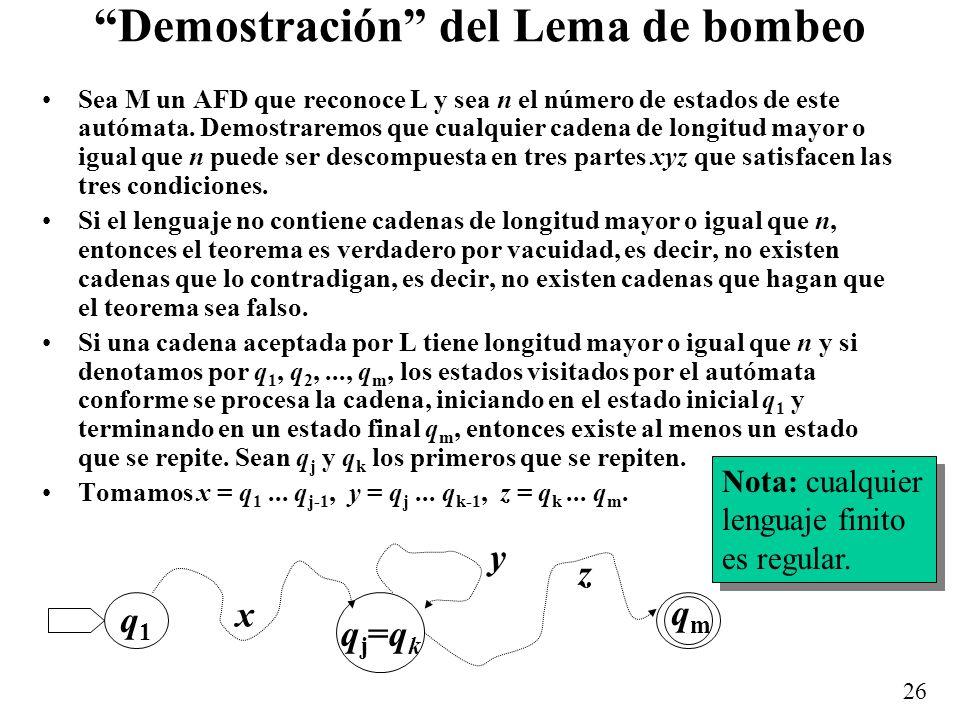 Demostración del Lema de bombeo