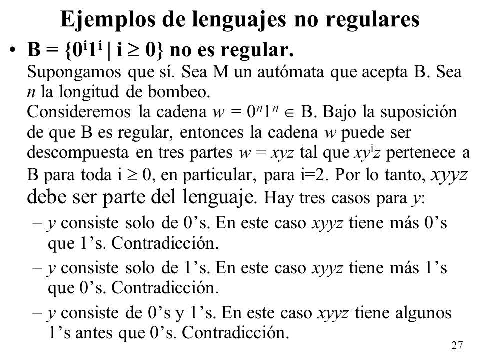 Ejemplos de lenguajes no regulares