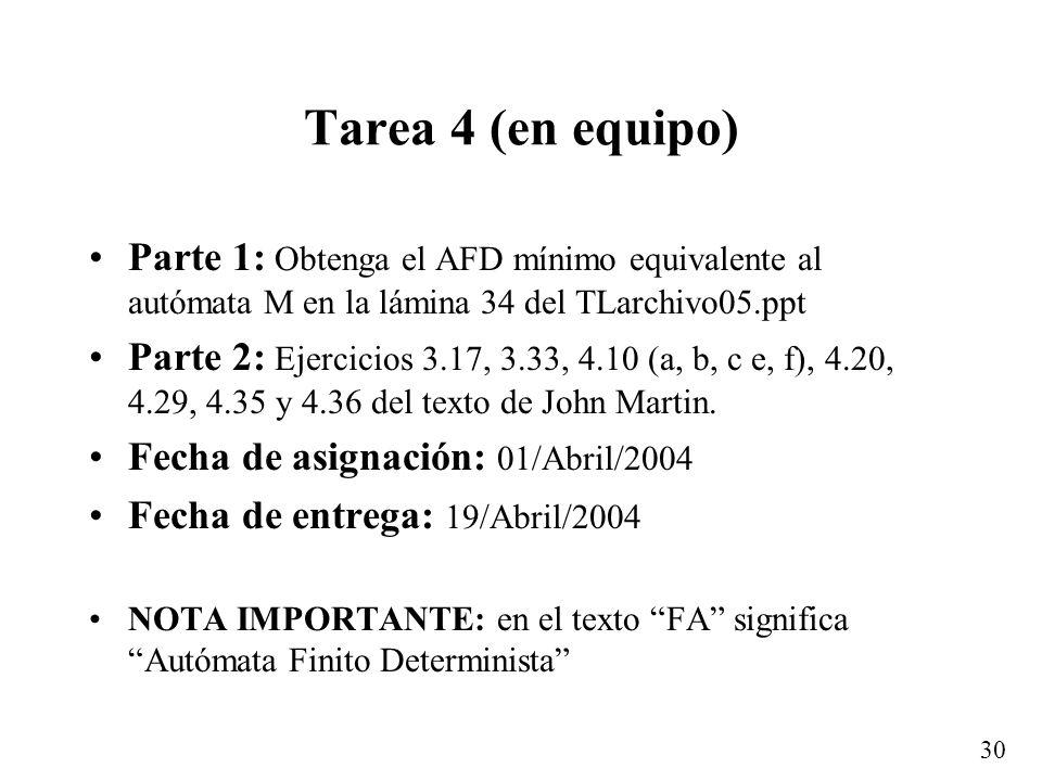 Tarea 4 (en equipo) Parte 1: Obtenga el AFD mínimo equivalente al autómata M en la lámina 34 del TLarchivo05.ppt.